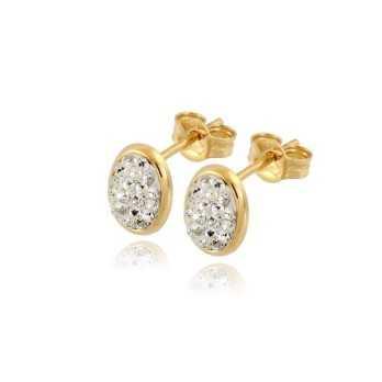 Orecchini Donna Orecchini in oro forma ovale con pietre
