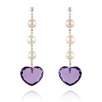 Orecchini Perle Orecchini in oro con perle e pietra a cuore Zoppi Gioielli