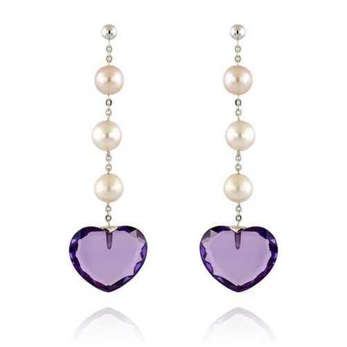 Orecchini in oro con perle e pietra a cuoreZoppi Gioielli Orecchini Perle 320,00€ NORP556QV
