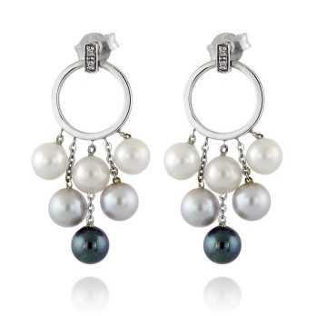 Orecchini Perle Orecchini pendenti in oro con perle e diamanti Zoppi Gioielli