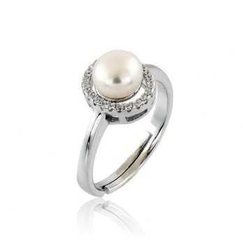 Anello con perla e zirconi...