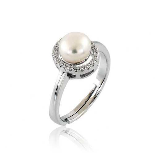 Anello con perla e zirconi in argento