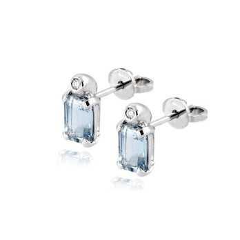 Gioielli con Diamanti Orecchini in oro con acquamarina e diamante