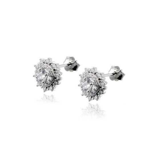Orecchini in argento a punto luce fiore