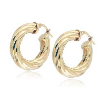 Orecchini torchon a cerchio d.23mm in oro giallo Orecchini Donna 466,00€ ORC585AU