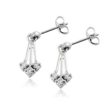 Gioielli con Diamanti Orecchini pendenti in oro e diamanti Ct. 0,34