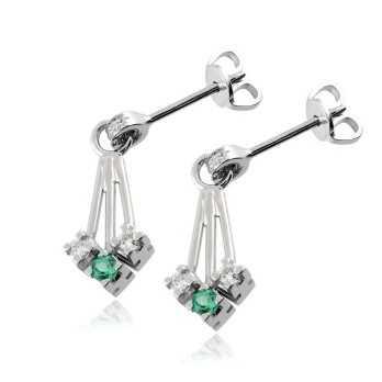 Gioielli con Diamanti Orecchini pendenti in oro con diamanti e smeraldi