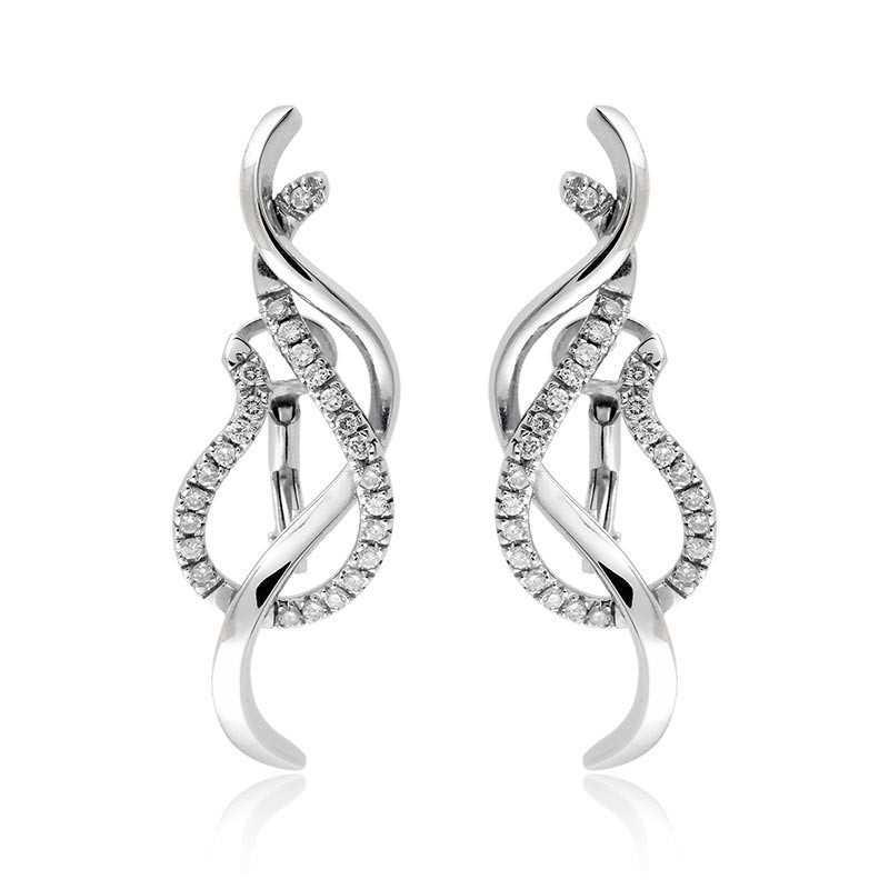 Orecchini fantasia in oro con diamanti ct.0,40 Zoppi Gioielli jewelry Orecchini oro diamanti DL-40OR10
