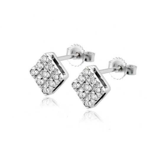 Orecchini toppe in oro e diamanti ct.0,26