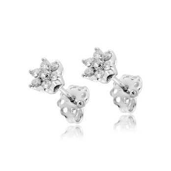 Gioielli con Diamanti Orecchini punto luce fiore in oro e diamanti ct.0,35 Roger gems gioielli