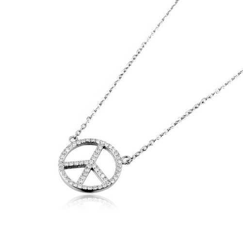 Collana con simbolo della pace in argento e pietre