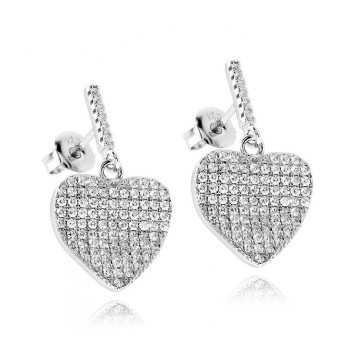 Orecchini Donna Orecchini pendenti a cuore in argento a pavè Zoppi Gioielli - Multibrand