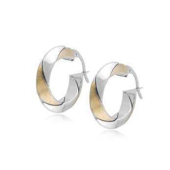 Orecchini cerchio oro bianco e giallo d.22mm Zoppi Gioielli jewelry Orecchini Donna OR350AUBG