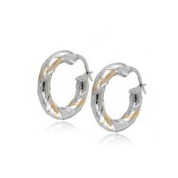 cerchietti oro bianco e giallo d.22mm Zoppi Gioielli jewelry Orecchini Donna OR300AUBG