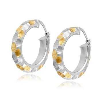 Orecchini cerchio ovale oro bianco decoro giallo Zoppi Gioielli jewelry Orecchini Donna OR520AUBG