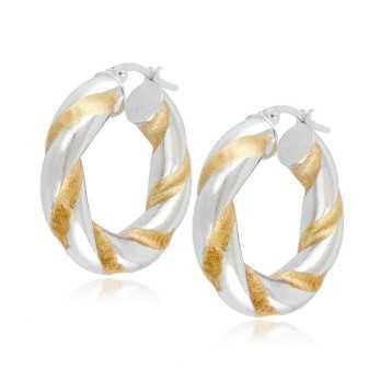 Orecchini cerchio torchon oro bianco e giallo Zoppi Gioielli jewelry Orecchini Donna OR480AUB