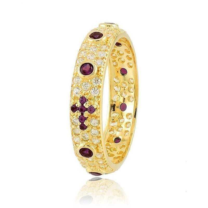 Anello a rosario dorato pietre rosseAlexia Gioielli Anelli religiosi 38,00€ RB-AG240ANRGR