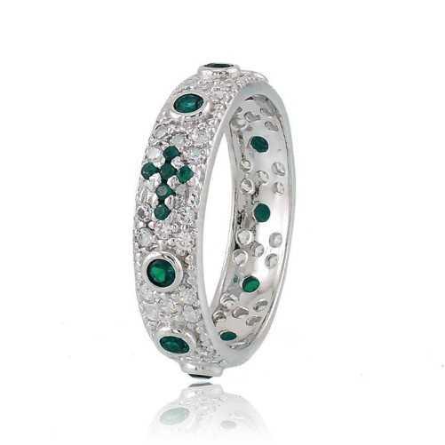 Anello a rosario in argento pietre verde  Anelli religiosi RB-AG240ANRV