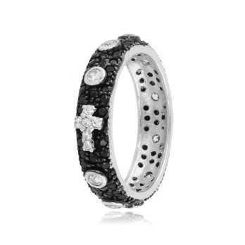 Anello a rosario argento pietre nere e bianche Alexia Gioielli Anelli religiosi RB-ANR24AGN
