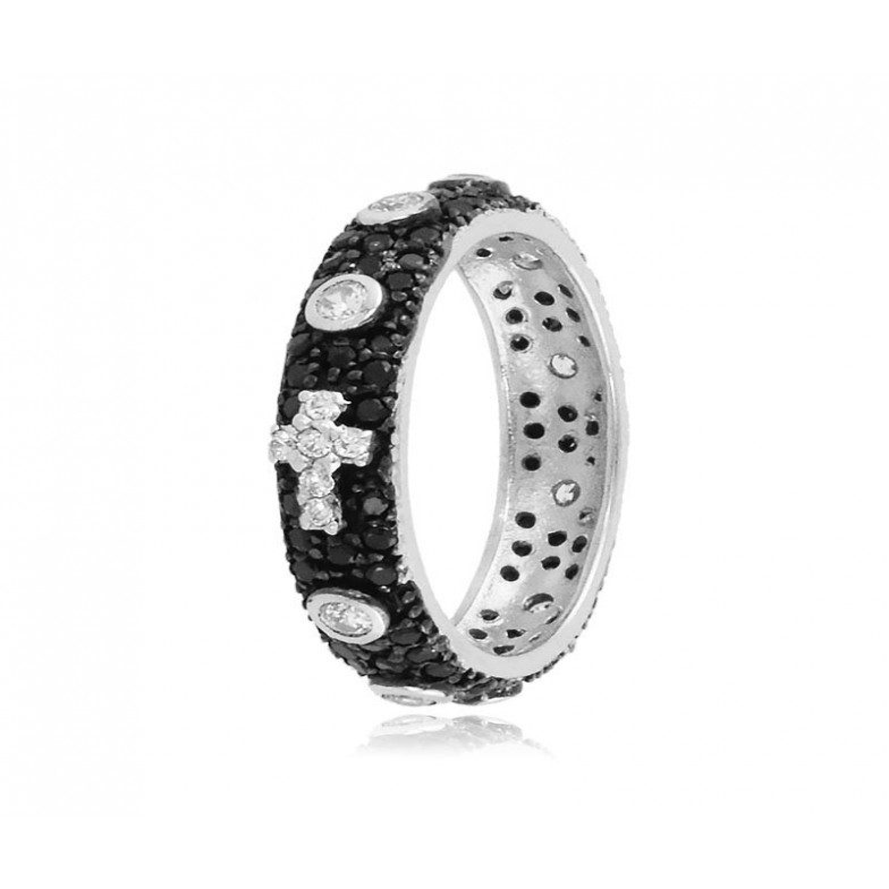 Anelli Anello a rosario argento pietre nere e bianche Alexia Gioielli
