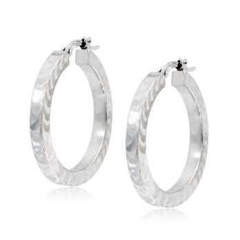 Orecchini a cerchio in oro bianco squadrati Zoppi Gioielli jewelry Orecchini Donna ORC330AUB