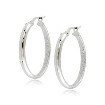 Orecchini cerchio ovale oro bianco liscio Zoppi Gioielli jewelry Orecchini Donna ORC270AUB