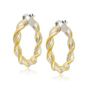 Orecchini Donna Orecchini cerchio intrecciati bicolore in oro Zoppi Gioielli