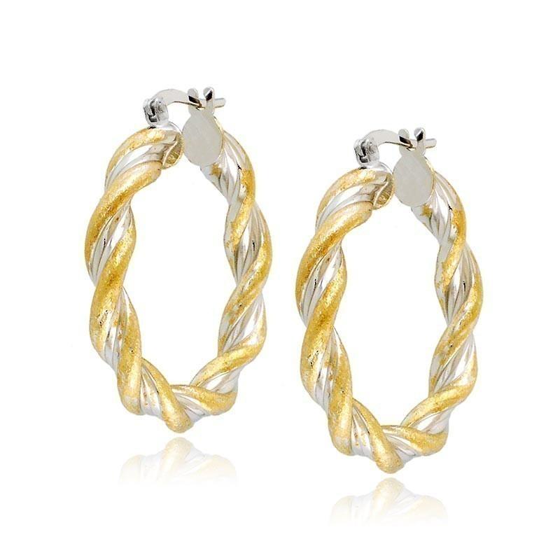 migliori scarpe da ginnastica 752f5 031e8 Orecchini cerchio intrecciati bicolore in oro
