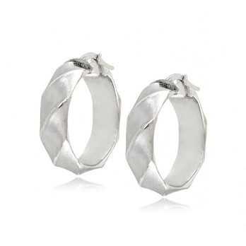 Orecchini cerchio torchon oro bianco satinato Zoppi Gioielli jewelry Orecchini Donna ORC350AUB