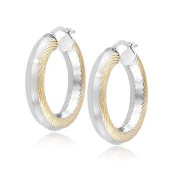 Orecchini cerchio d.31mm oro bianco decoro gialloZoppi Gioielli Orecchini Donna 460,00€ ORC545AUBG