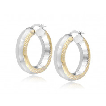 Orecchini cerchio d.31mm oro bianco decoro giallo Zoppi Gioielli jewelry Orecchini Donna ORC545AUBG