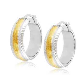 Orecchini Donna Orecchini cerchio d.24mm oro bianco decoro giallo Zoppi Gioielli