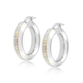 Orecchini cerchio d.23mm oro bianco decoro giallo Zoppi Gioielli jewelry Orecchini Donna ORC345AUB