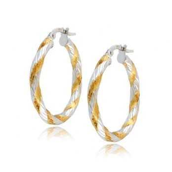 Orecchini cerchio intrecciati in oro bicolore Orecchini Donna 192,00€ product_reduction_percent