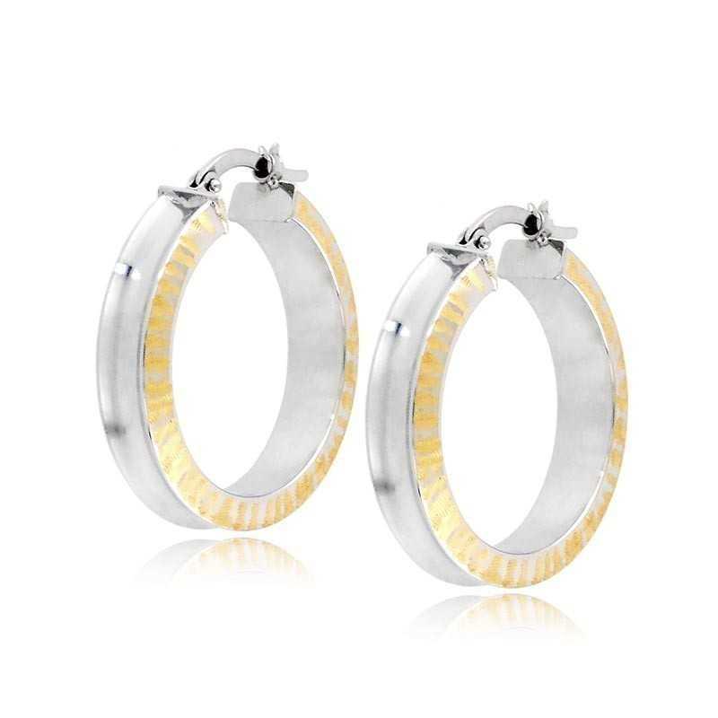 Orecchini cerchio a incavo oro bianco decoro gialloZoppi Gioielli Orecchini Donna 335,00€ ORC4AUBG
