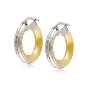Orecchini cerchio rigato in oro bianco decoro giallo Zoppi Gioielli jewelry Orecchini Donna ORC370AUBG