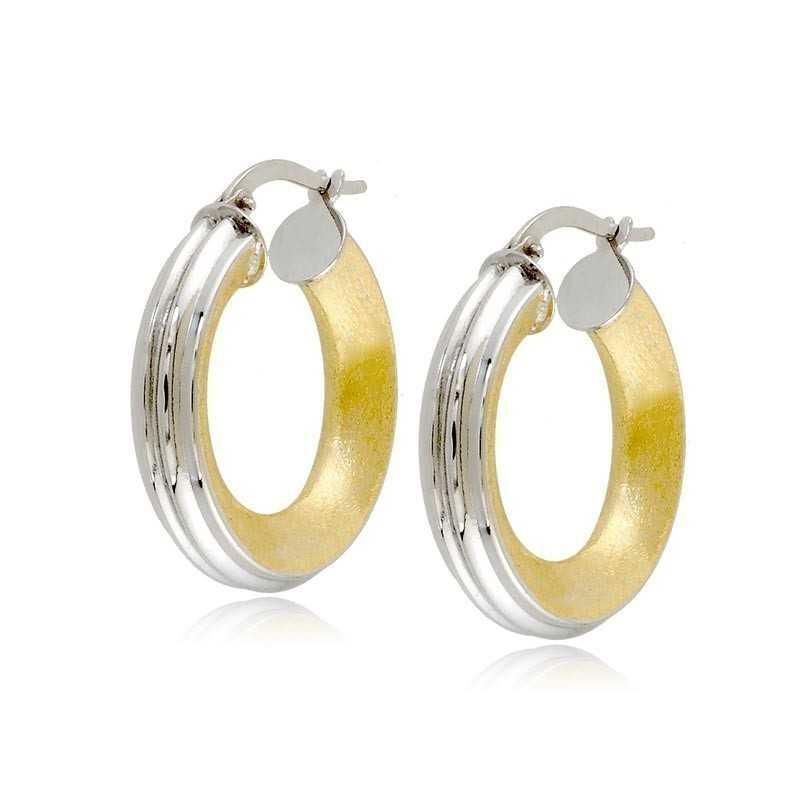 Orecchini Donna Orecchini cerchio rigato in oro bianco decoro giallo Zoppi Gioielli
