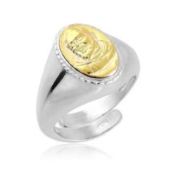 Anello con San Pio in argento