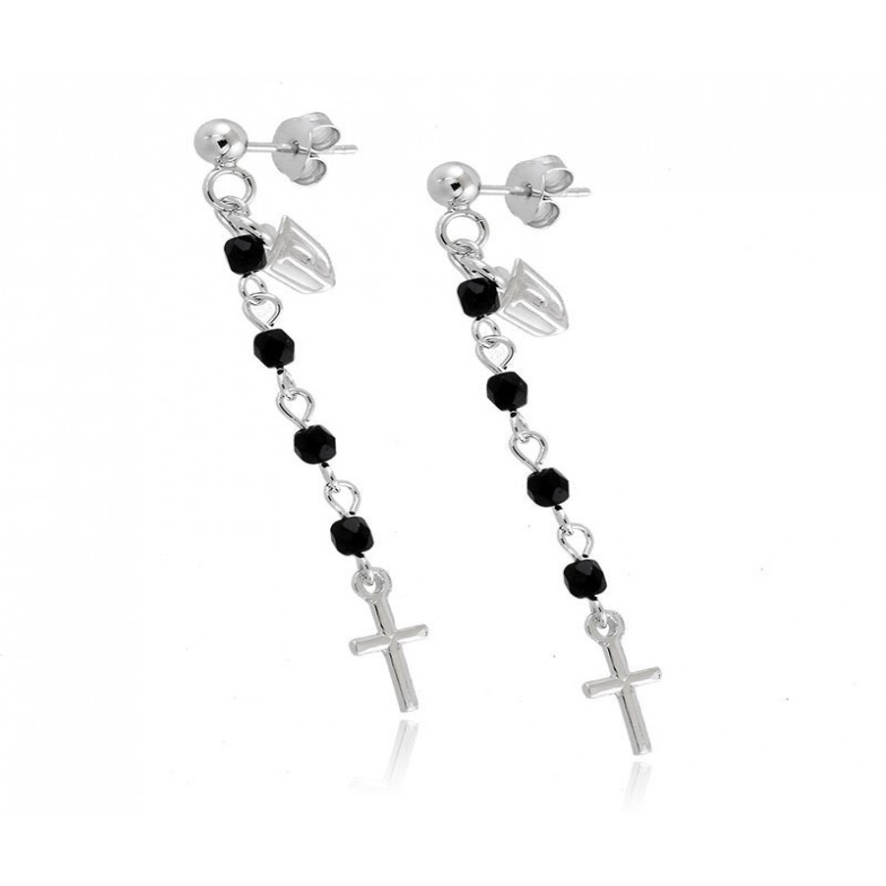 Orecchini con croce argento e pietre Puca Jewels Orecchini religiosi PJ-OR1605AG