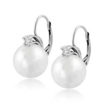 Orecchini con perla 14 mm e...