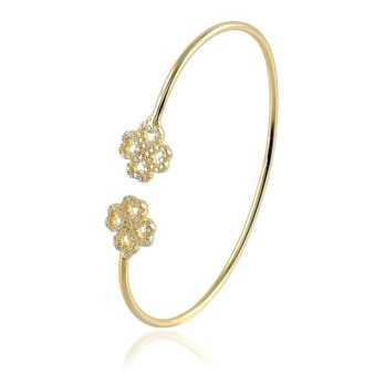 Bracciali Donna Bracciale rigido in argento dorato con fiori Byblos jewels