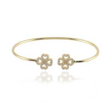 Bracciale rigido in argento dorato con fiori