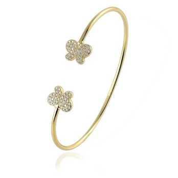Bracciali Donna Bracciale rigido in argento dorato con farfalle Byblos jewels