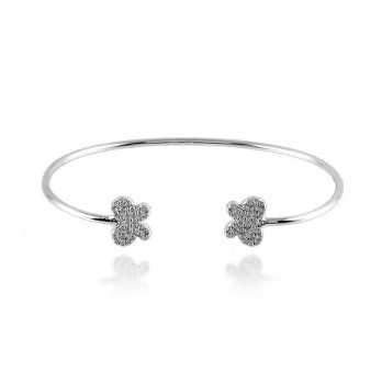Bracciale rigido in argento con farfalle