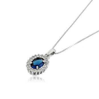 Collana con zaffiro contornata da zirconi Zoppi Gioielli bijoux Collane Donna CLZ26AG