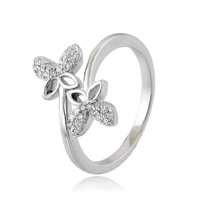 Home Anello con Farfalle in argento e swarovski Osa jewels