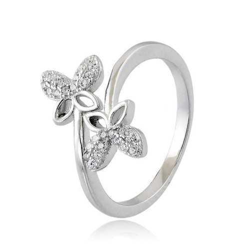 Anello con Farfalle in argento e swarovski