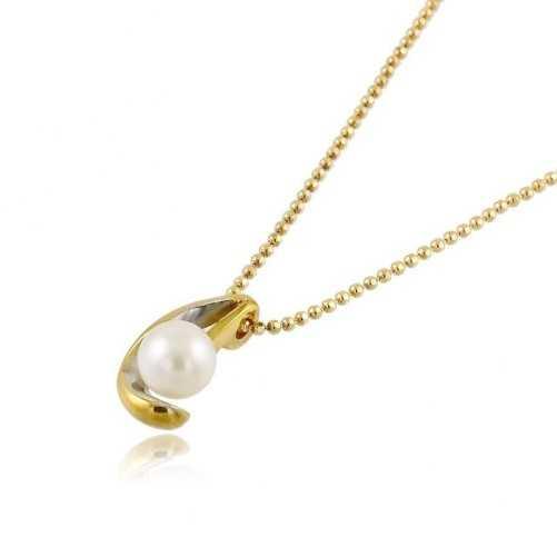 Collana in oro giallo con perla 6mm