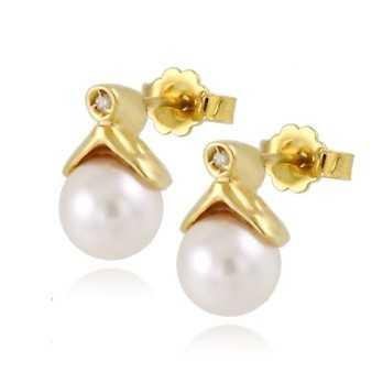 Orecchini con perle 7mm e diamanti Zoppi Gioielli jewelry Orecchini Perle NH320AUD1P7