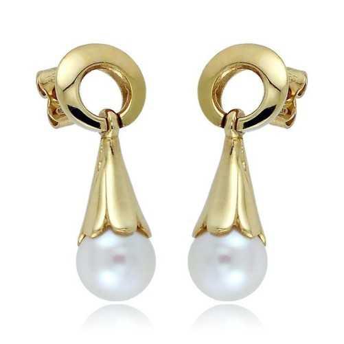 Orecchini pendenti in oro con perle 8mm